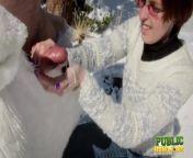PUBLICHANDJOBS Brandi de Lafey Strokes Frosty the Snowman While Stranded in the Mountains from publichandjob