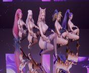 [MMD] K DA - The Baddest 5 Girls Strip Ver. Ahri Akali Evelynn Kaisa Seraphine 3D Erotic Dance from nkuli
